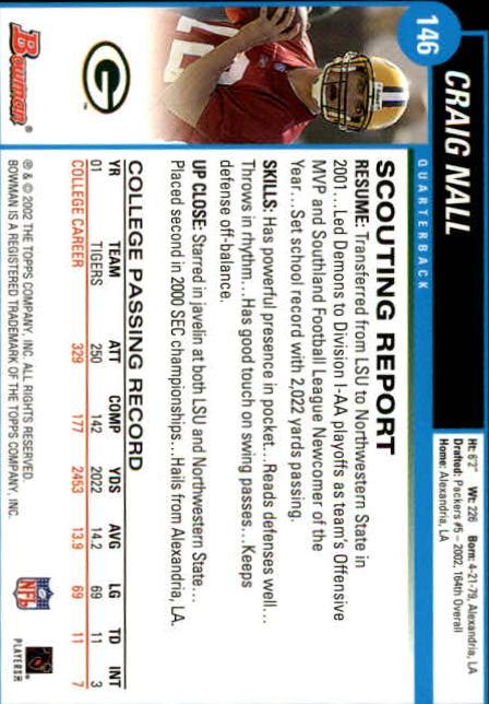 2002 Bowman #146 Craig Nall RC back image