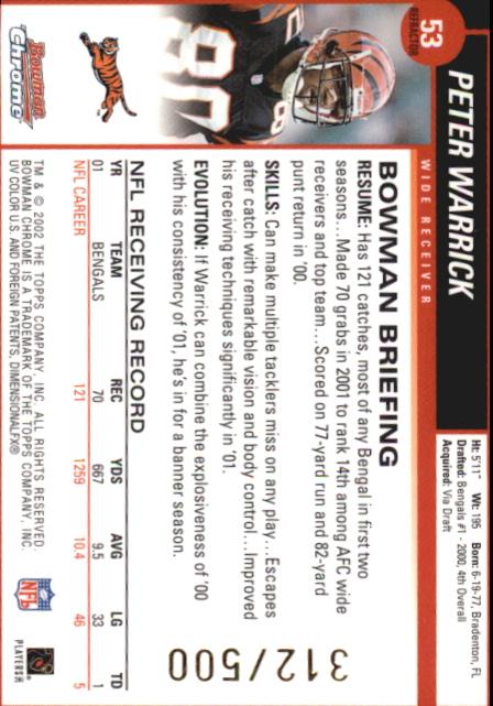 2002 Bowman Chrome Refractors #53 Peter Warrick back image