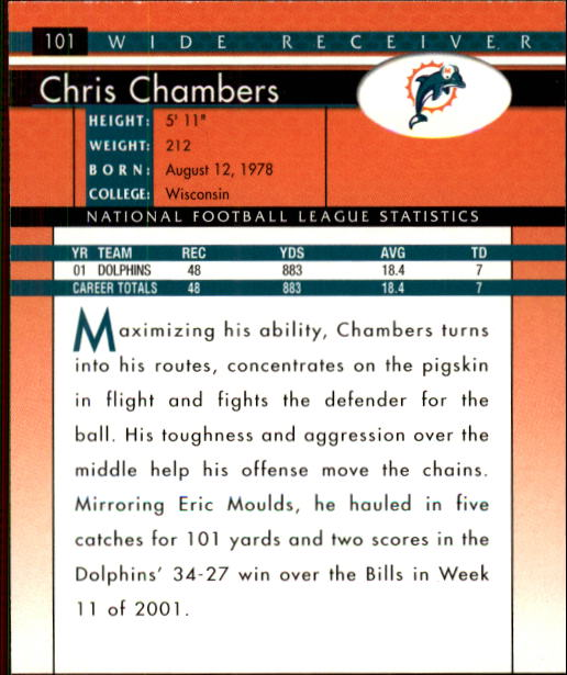 2002 Donruss #101 Chris Chambers back image