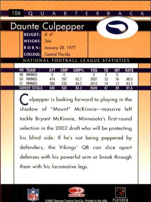 2002 Donruss #106 Daunte Culpepper back image