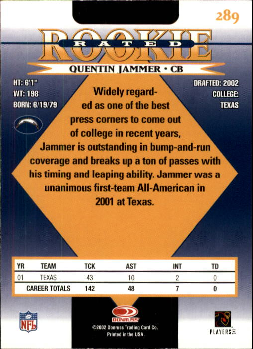 2002 Donruss #289 Quentin Jammer RC back image