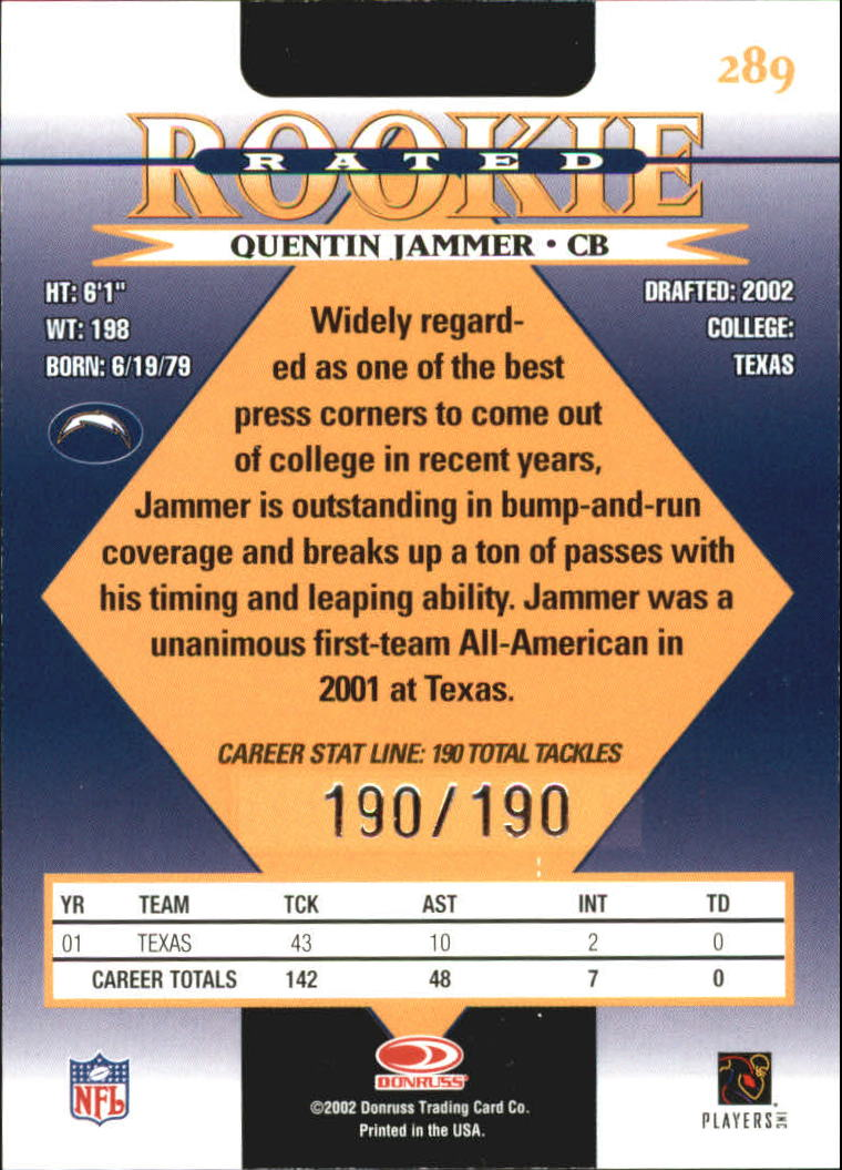 2002 Donruss Stat Line Career #289 Quentin Jammer/190 back image