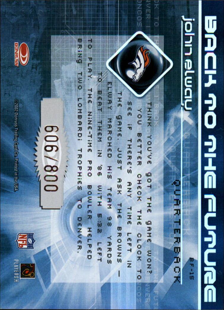 2002 Donruss Elite Back to the Future #BF15 John Elway back image