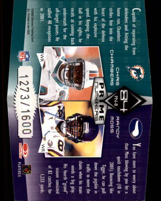 2002 Donruss Elite Prime Numbers #PN8 Randy Moss/Chris Chambers back image