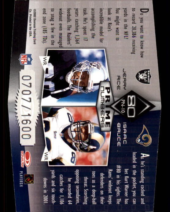 2002 Donruss Elite Prime Numbers #PN10 Jerry Rice/Isaac Bruce back image