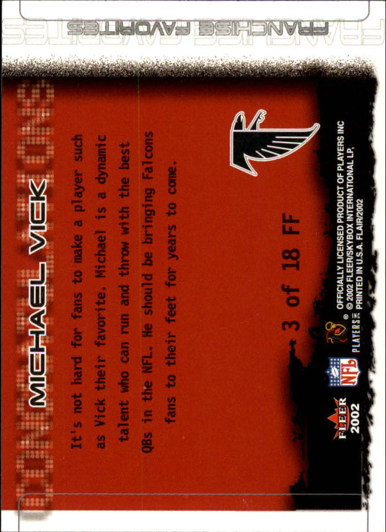 2002 Flair Franchise Favorites #3 Michael Vick back image