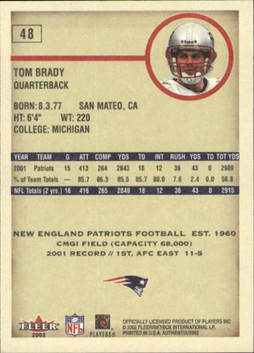 2002 Fleer Authentix #48 Tom Brady back image