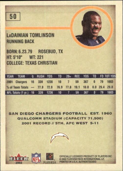 2002 Fleer Authentix #50 LaDainian Tomlinson back image