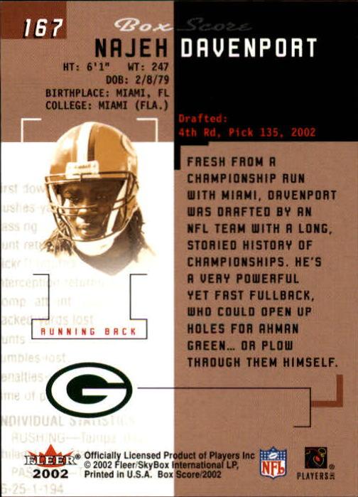 2002 Fleer Box Score #167 Najeh Davenport RC back image