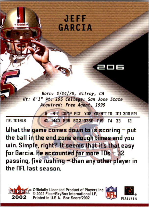 2002 Fleer Box Score #206 Jeff Garcia QBC back image