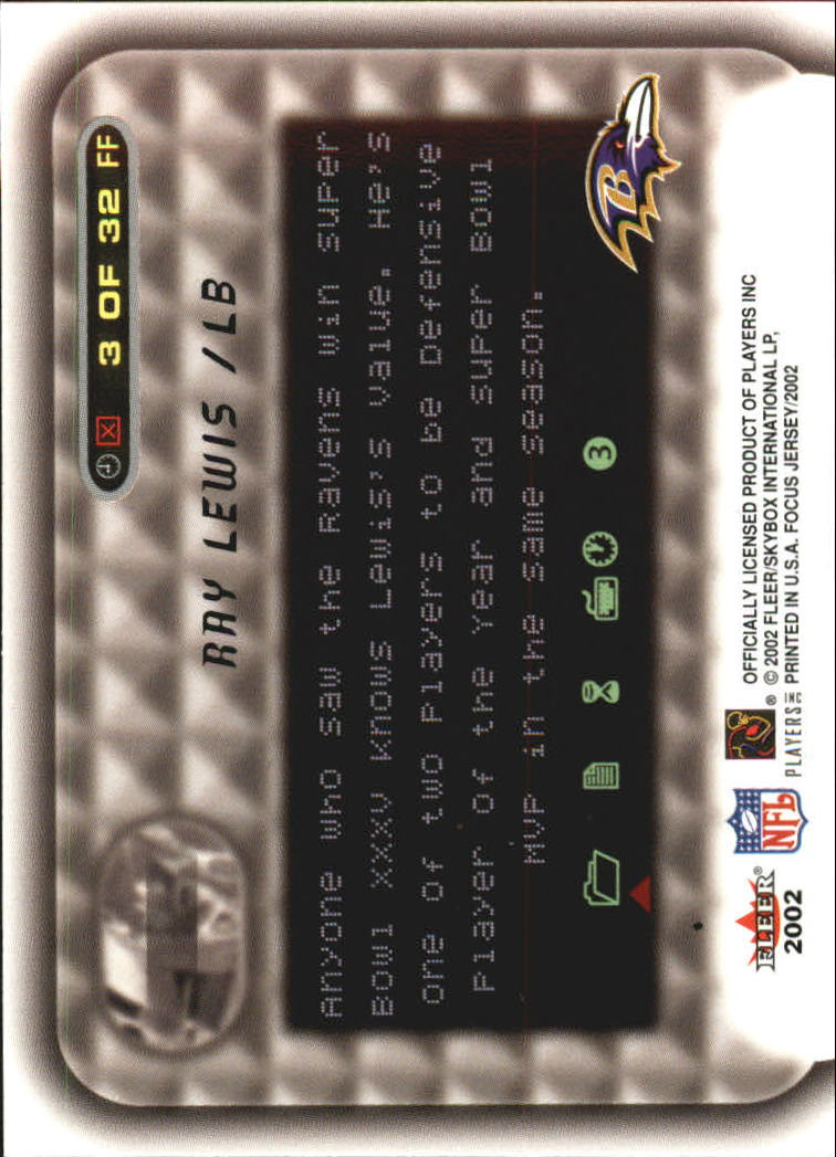 2002 Fleer Focus JE Franchise Focus #3 Ray Lewis back image