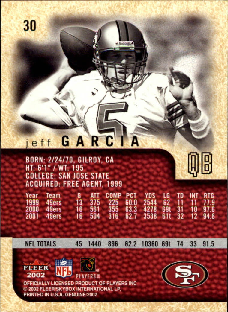 2002 Fleer Genuine #30 Jeff Garcia back image