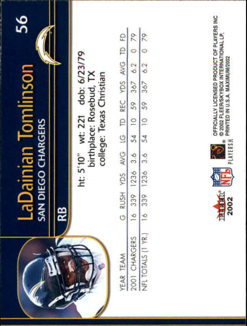 2002 Fleer Maximum #56 LaDainian Tomlinson back image