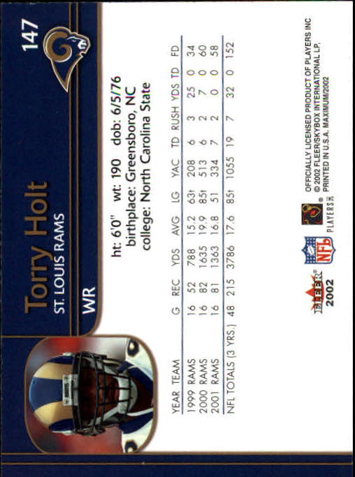 2002 Fleer Maximum #147 Torry Holt back image