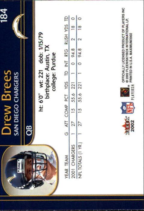 2002 Fleer Maximum #184 Drew Brees back image