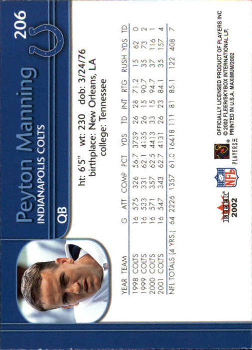 2002 Fleer Maximum #206 Peyton Manning back image