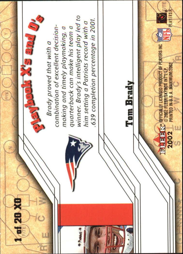 2002 Fleer Maximum Playbook X's and O's #1 Tom Brady back image