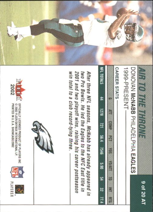 2002 Fleer Showcase Air to the Throne #AT9 Donovan McNabb back image