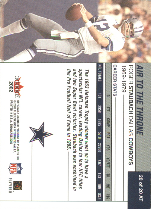 2002 Fleer Showcase Air to the Throne #AT20 Roger Staubach back image