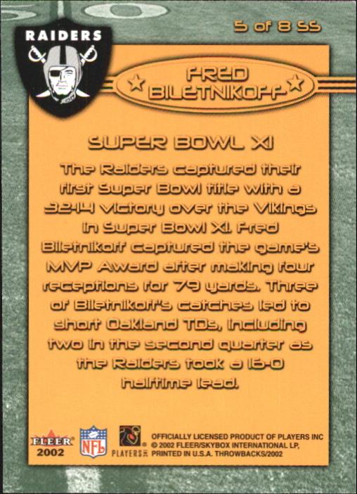 2002 Fleer Throwbacks Super Stars #5 Fred Biletnikoff back image