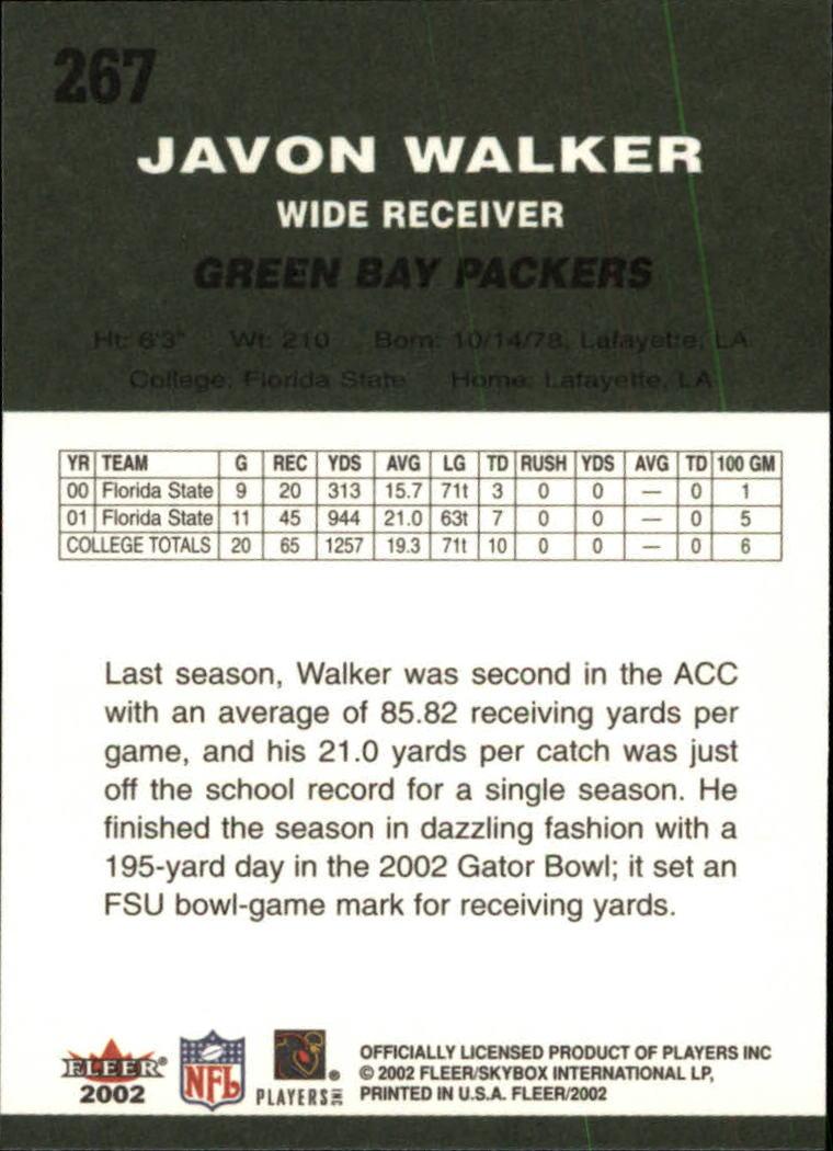 2002 Fleer Tradition #267 Javon Walker RC back image
