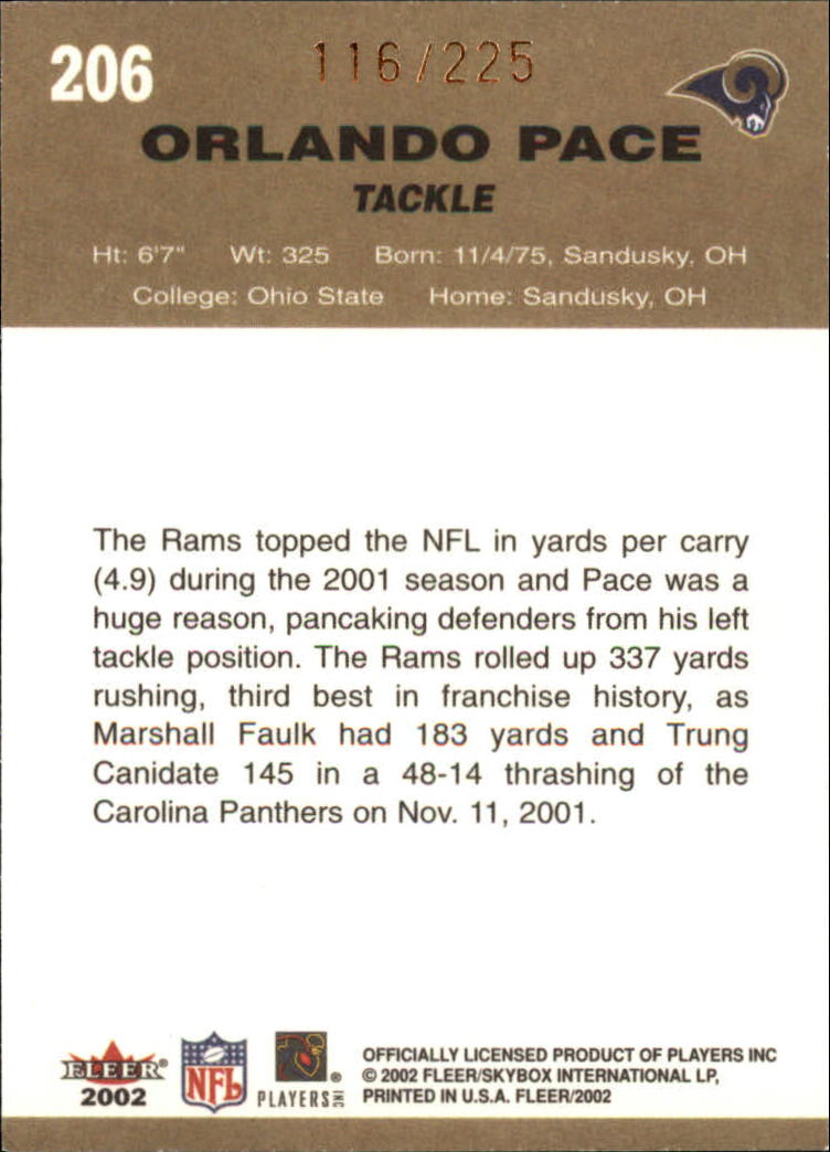 2002 Fleer Tradition Tiffany #206 Orlando Pace back image