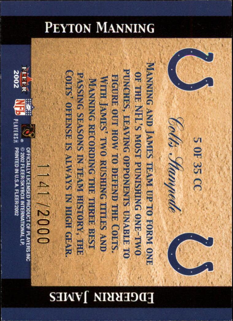 2002 Fleer Tradition Classic Combinations Hobby #5 Peyton Manning/Edgerrin James back image