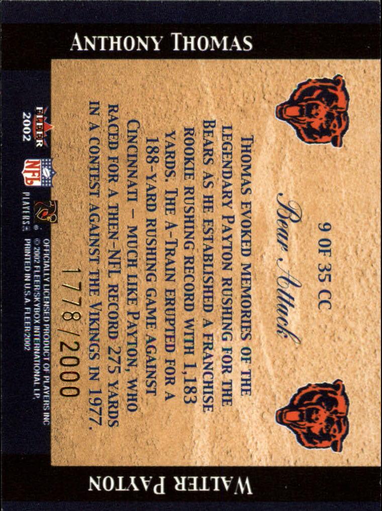 2002 Fleer Tradition Classic Combinations Hobby #9 Anthony Thomas/Walter Payton back image