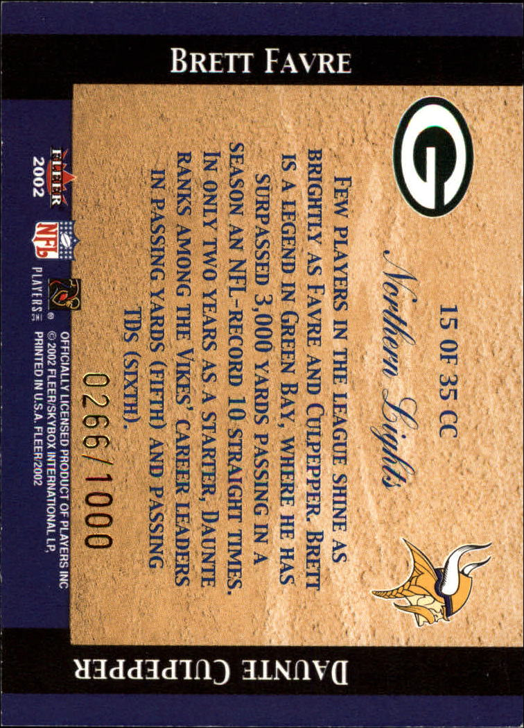 2002 Fleer Tradition Classic Combinations Hobby #15 Brett Favre/Daunte Culpepper back image