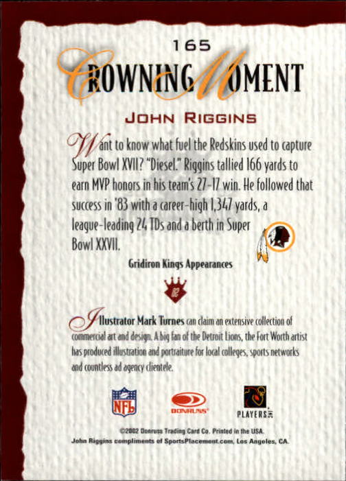 2002 Gridiron Kings #165 John Riggins back image