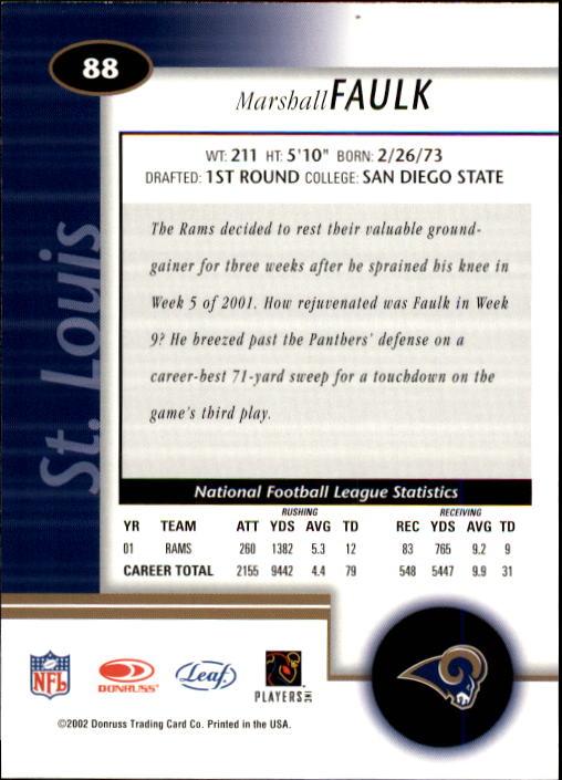2002 Leaf Certified #88 Marshall Faulk back image