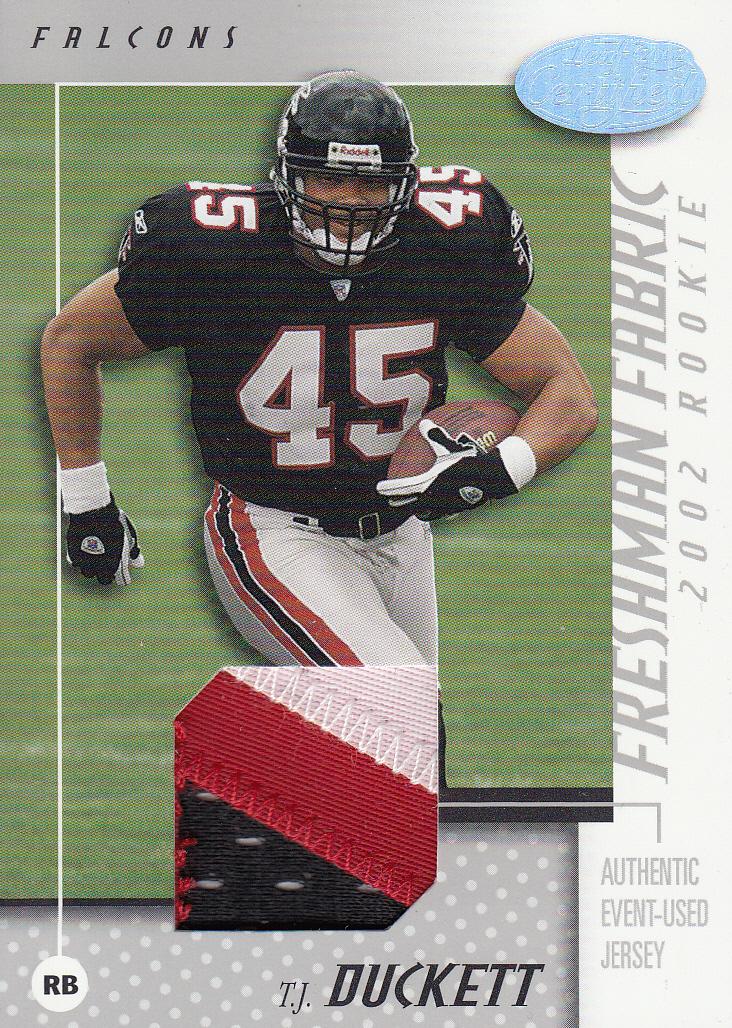 2002 Leaf Certified #109 T.J. Duckett JSY RC