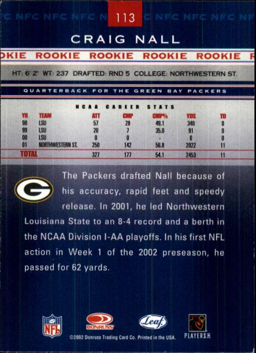 2002 Leaf Rookies and Stars #113 Craig Nall RC back image