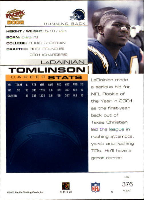 2002 Pacific #376 LaDainian Tomlinson back image