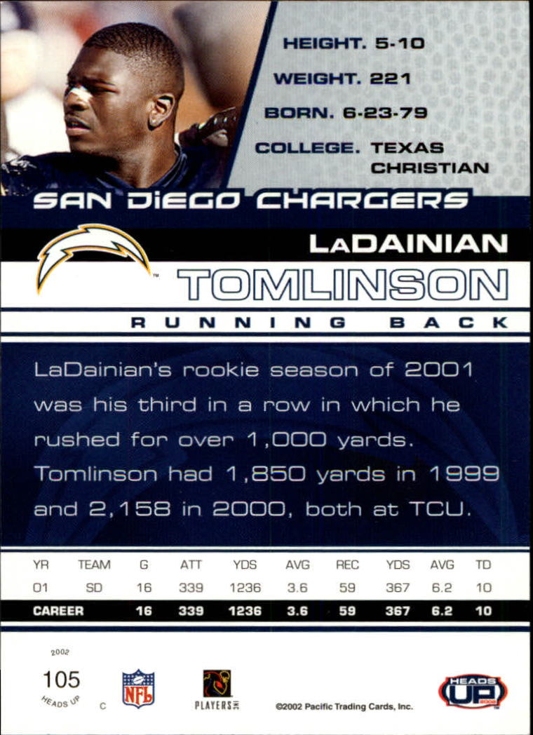 2002 Pacific Heads Up #105 LaDainian Tomlinson back image