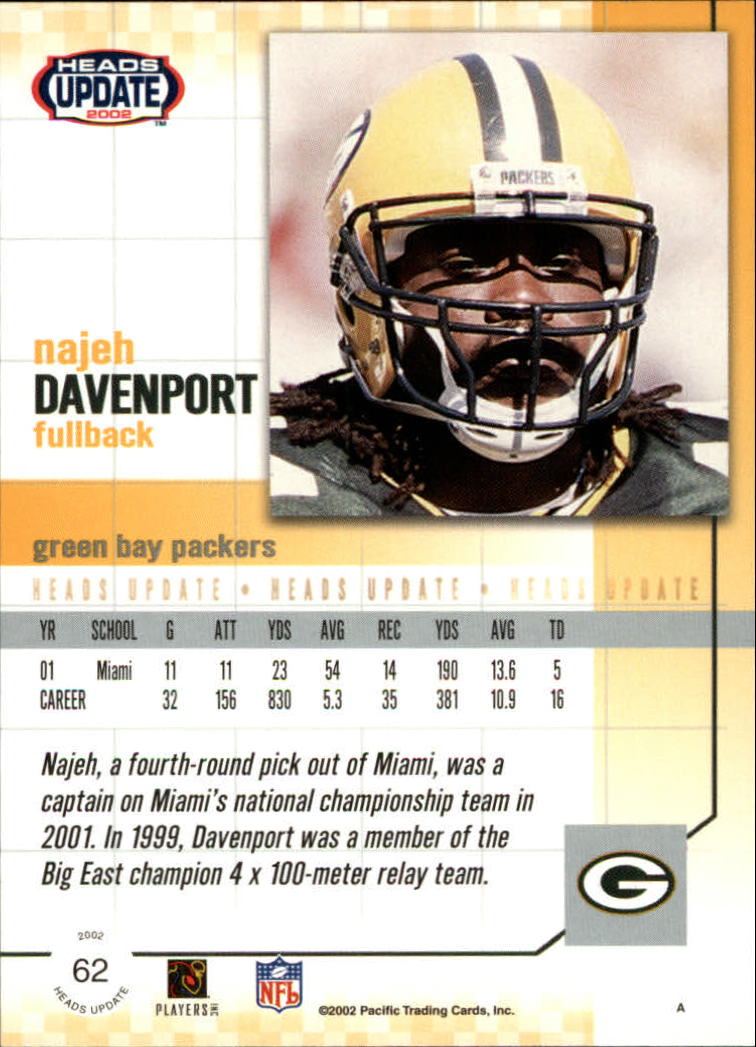 2002 Pacific Heads Update #62 Najeh Davenport RC back image