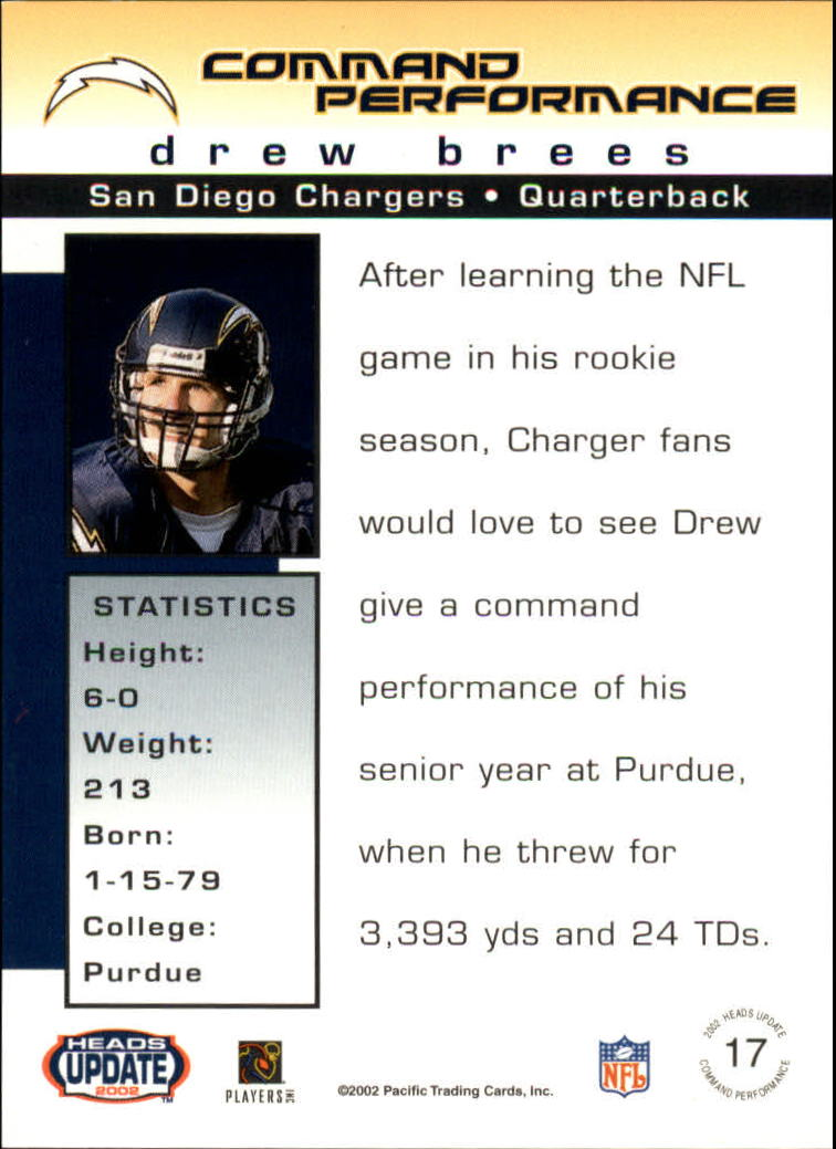 2002 Pacific Heads Update Command Performance #17 Drew Brees back image