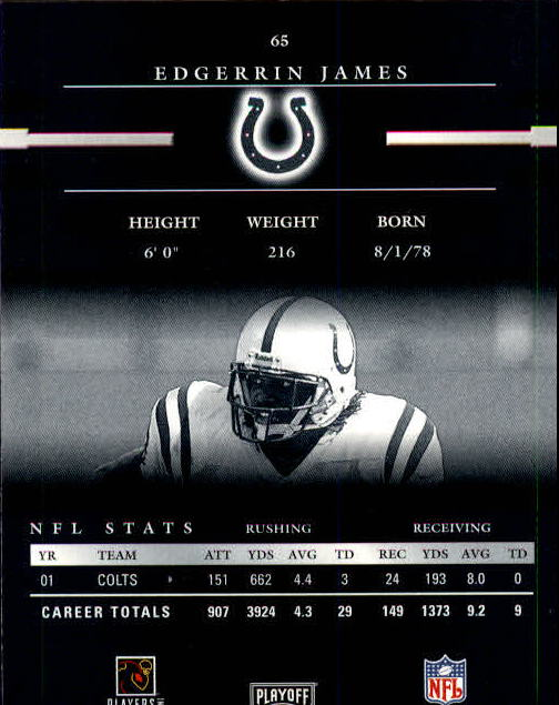 2002 Playoff Prestige #65 Edgerrin James back image