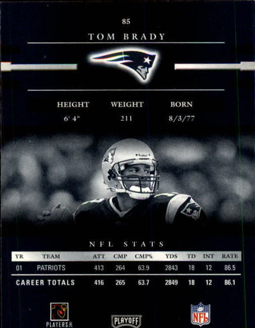 2002 Playoff Prestige #85 Tom Brady back image