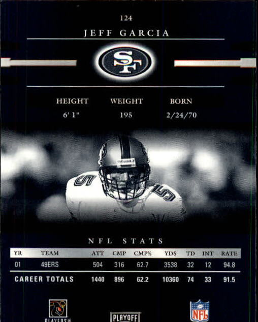 2002 Playoff Prestige #124 Jeff Garcia back image