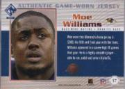2002 Private Stock Game Worn Jerseys #17 Moe Williams back image