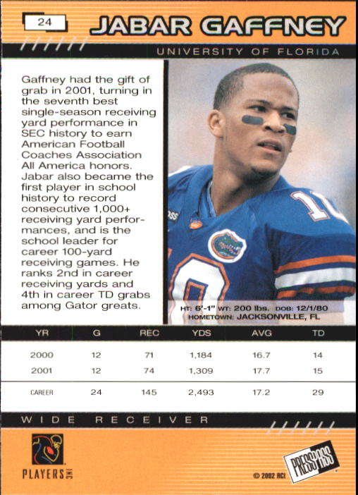 2002 Press Pass #24 Jabar Gaffney back image