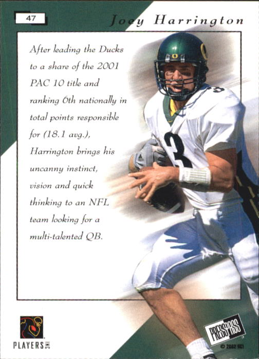2002 Press Pass #47 Joey Harrington PP back image