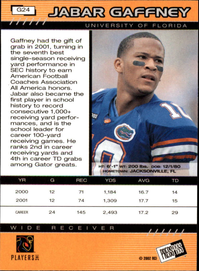 2002 Press Pass Gold Zone #G24 Jabar Gaffney back image