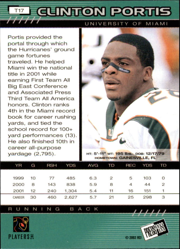 2002 Press Pass Torquers #17 Clinton Portis back image