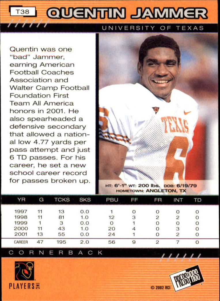 2002 Press Pass Torquers #38 Quentin Jammer back image