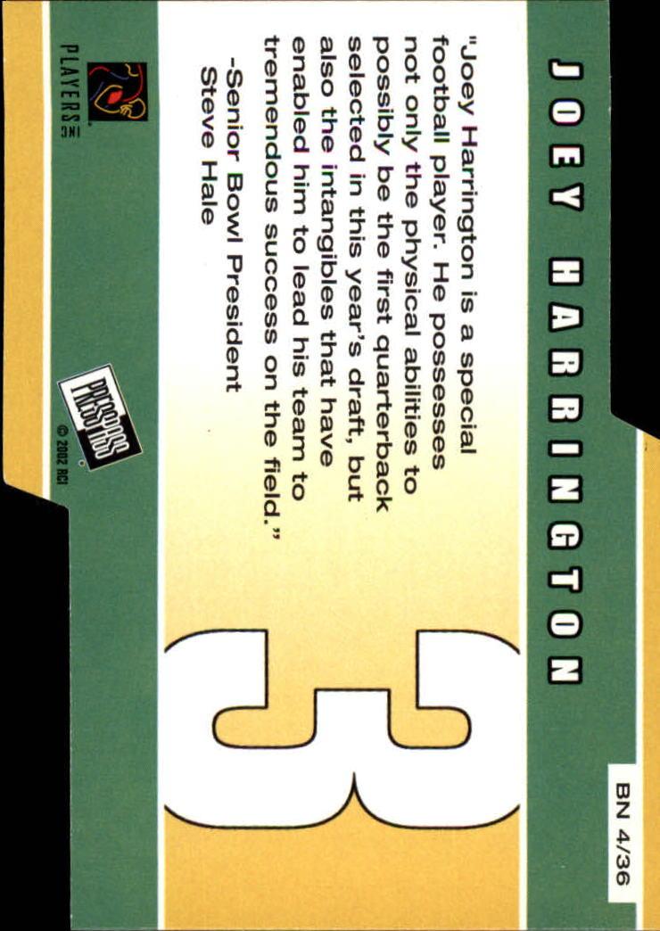 2002 Press Pass Big Numbers #BN4 Joey Harrington back image