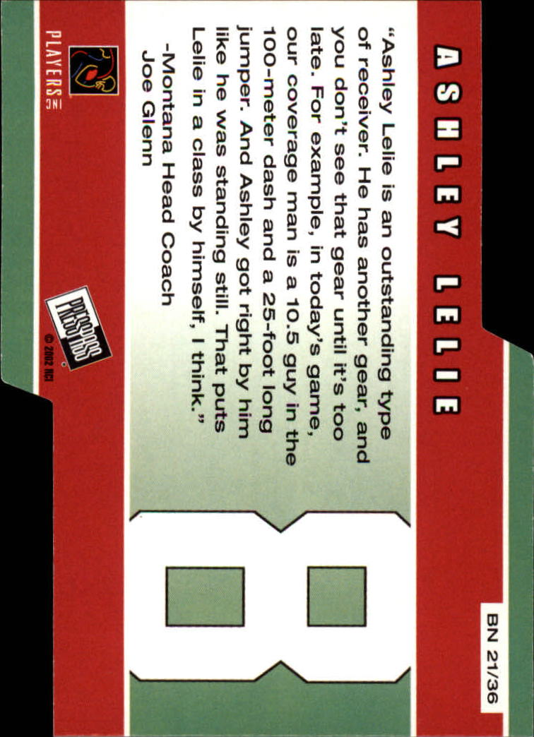 2002 Press Pass Big Numbers #BN21 Ashley Lelie back image