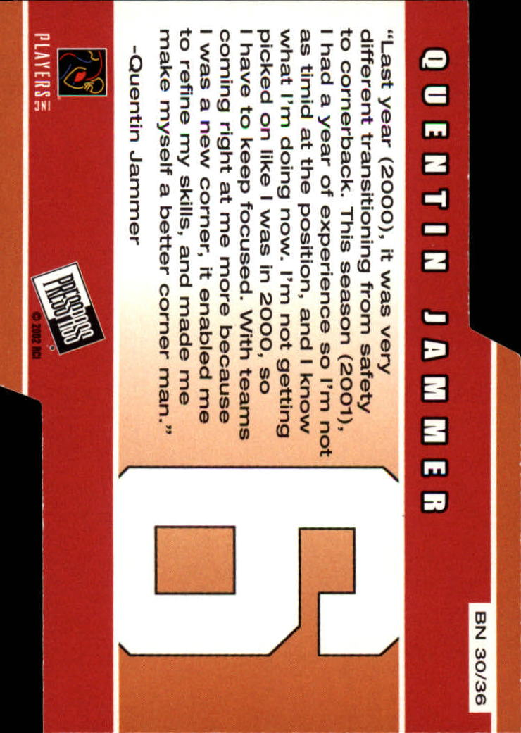 2002 Press Pass Big Numbers #BN30 Quentin Jammer back image