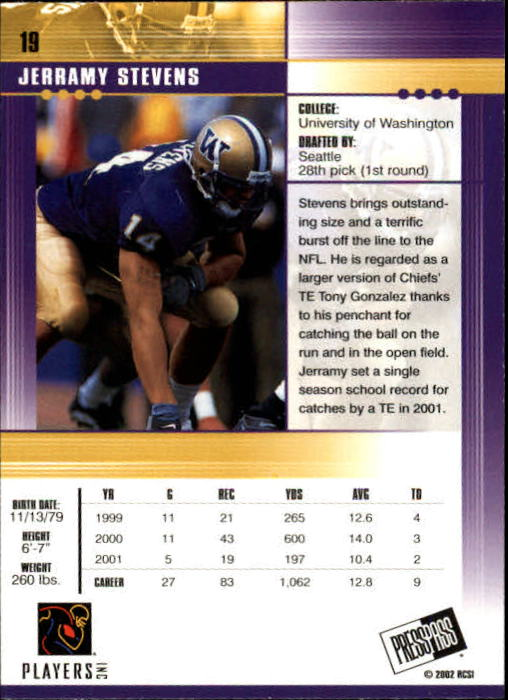 2002 Press Pass JE #19 Jerramy Stevens back image